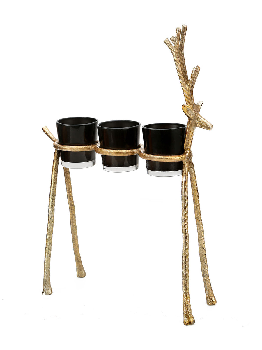 Trio Reindeer Votive (Gold)