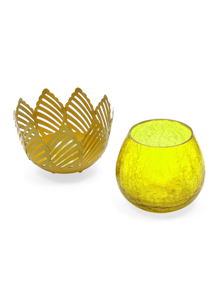 Lotus Cutwork Votives (Mustard)