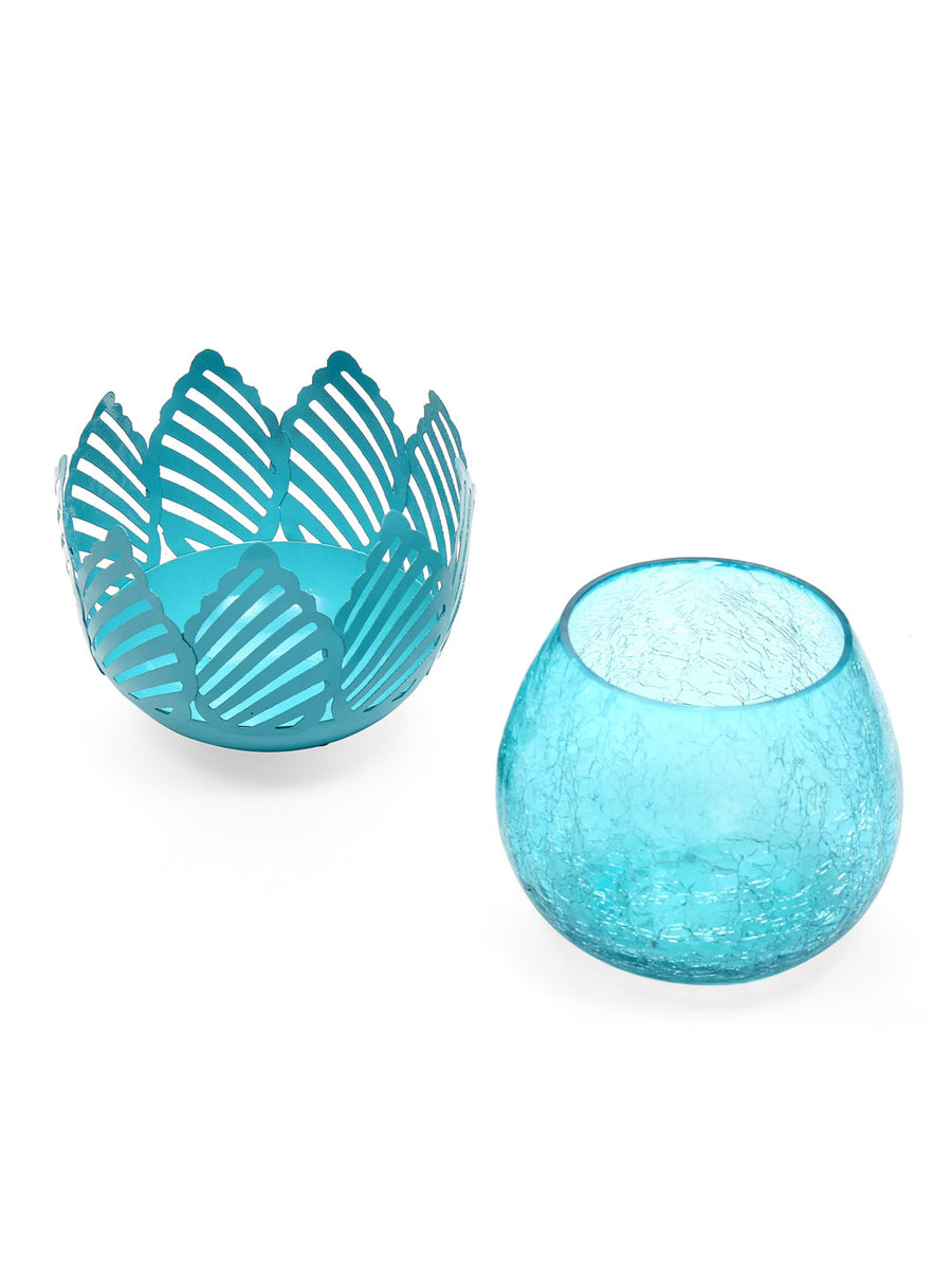 Lotus Cutwork Votives (Sea Green)