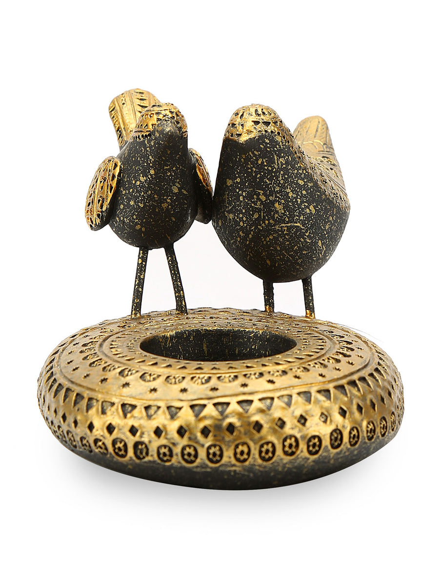 Bird Votive (Black & Gold)