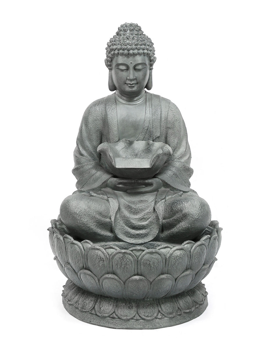 Buddha On Lotus Water Fountain (Grey)