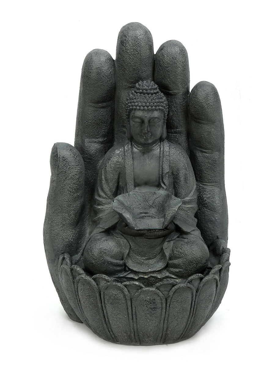 Buddha & Hand Water Fountain (Grey)