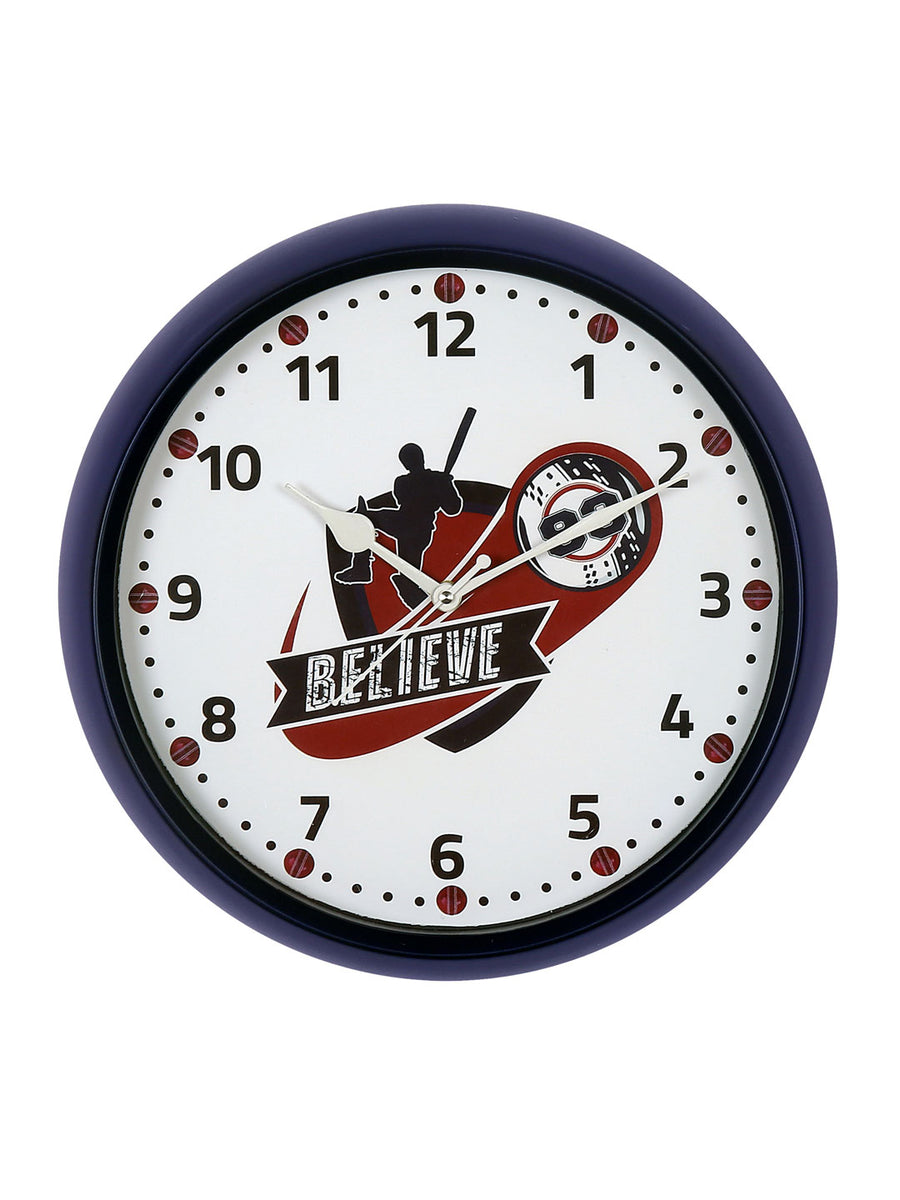 """83"" Believe Batsman Wall Clock (Blue)"
