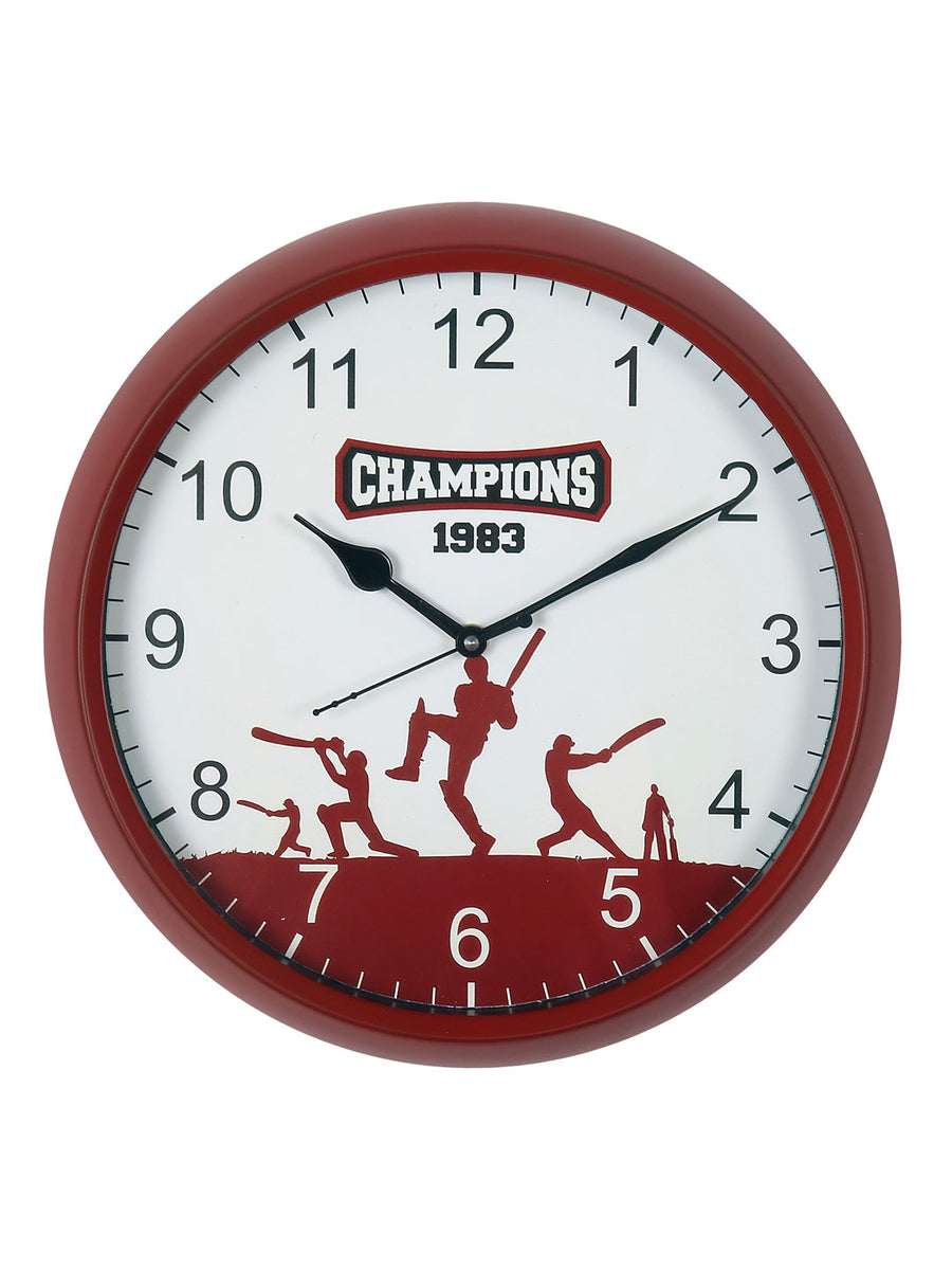 """83"" Hitting Batsmen Wall Clock (Red)"
