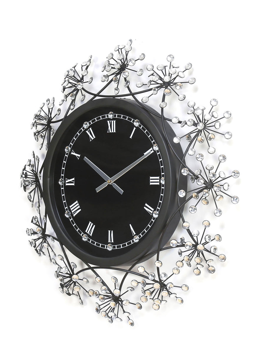 Crystal Floral Wall Clock (Black)
