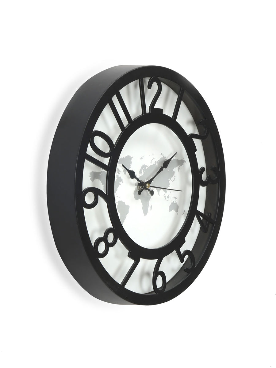 World Map Wall Clock (Black)