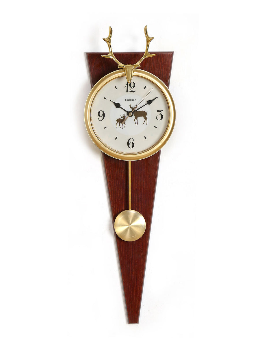 Stag Pendulum Wall Clock (Brown)