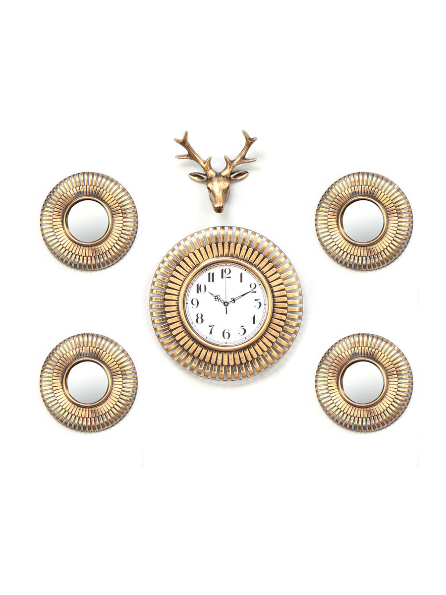Combo Stag Wall Clock Set Of 6 (Gold)