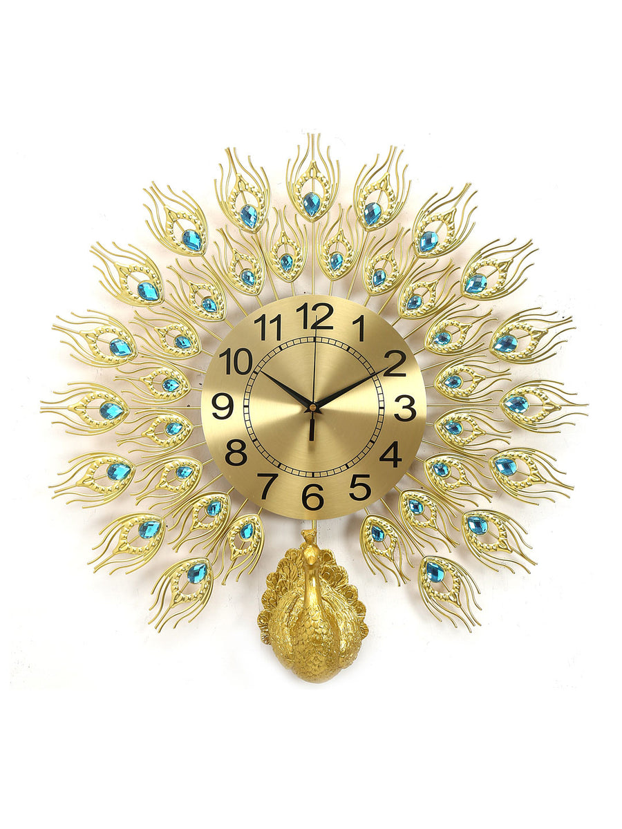Peacock Wall Clock (Gold)