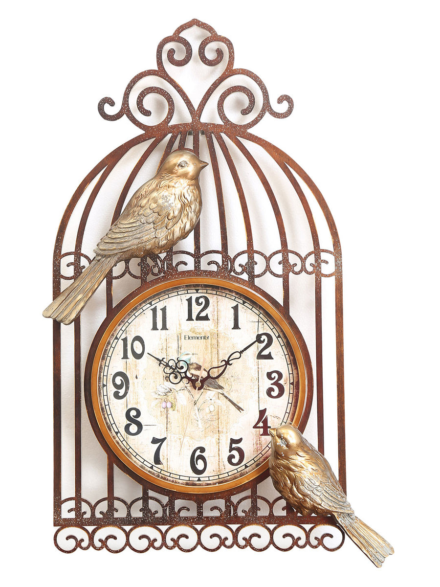 Bird Cage Wall Clock (Gold)