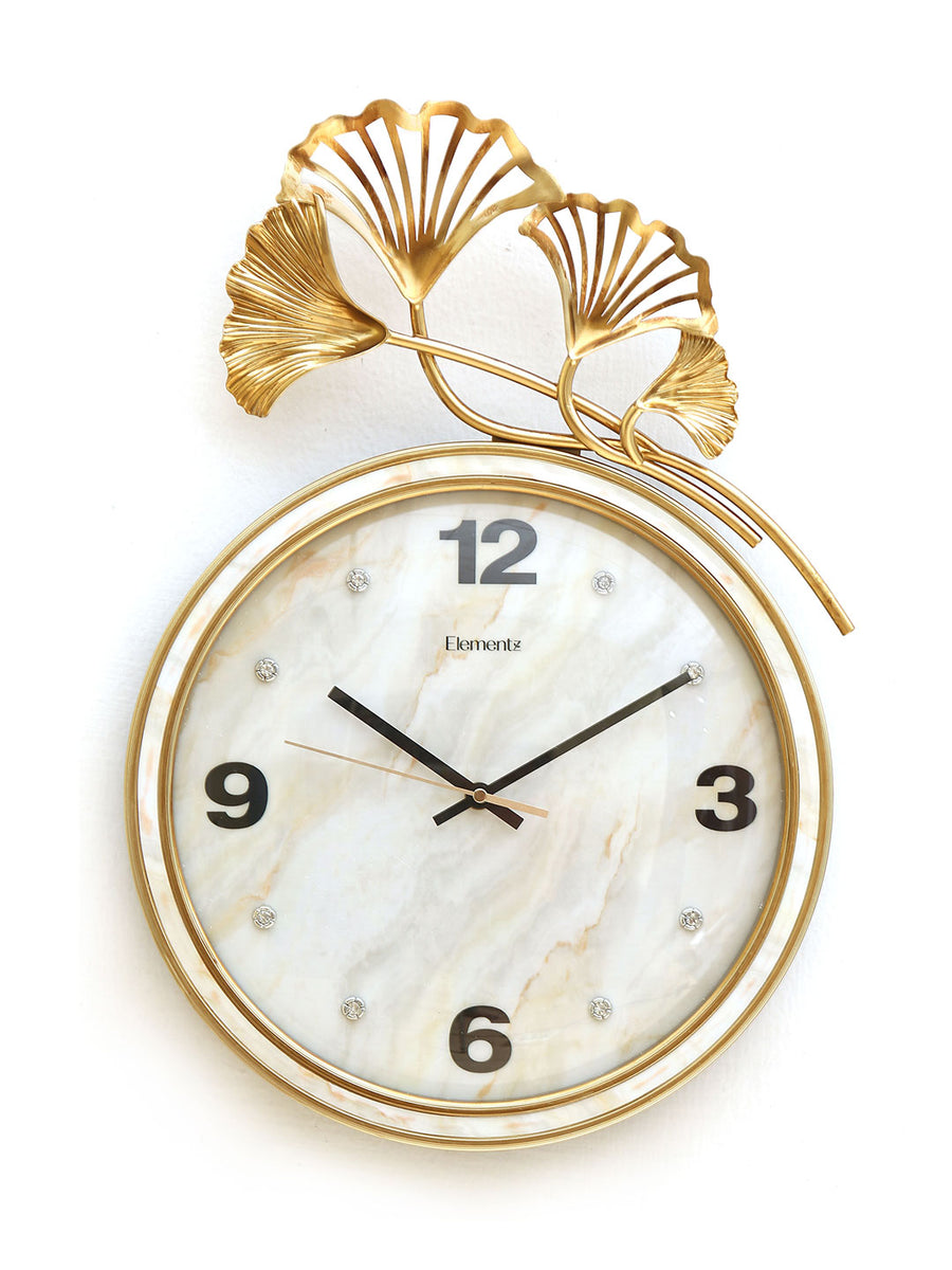 Ginkgo Leaf Wall Clock (Gold)