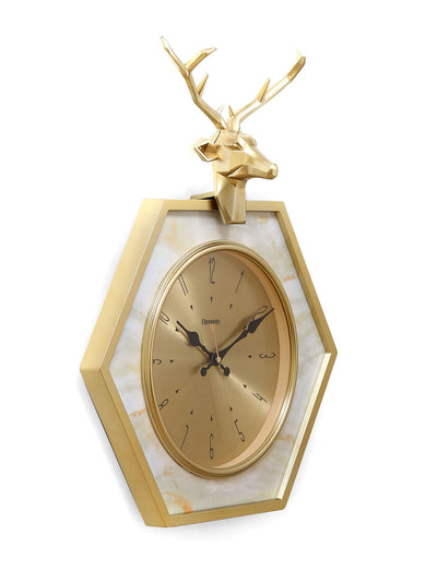 Stag Hexa Wall Clock (Gold)