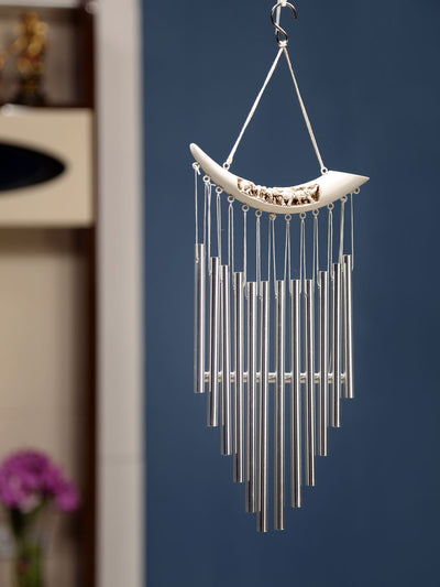 Horizontal Mini Elephants Windchime (White)