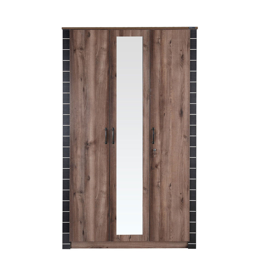 Iconic 3 Door Wardrobe with Mirror (Brown)