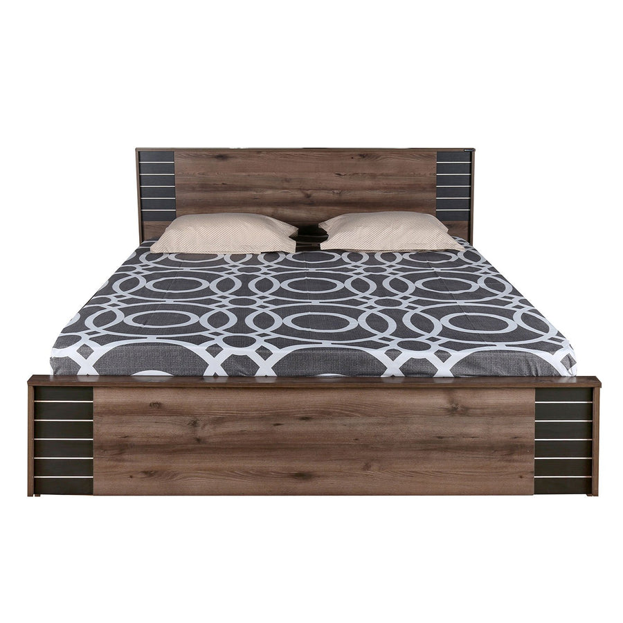 Iconic Queen Bed with Box Storage (Brown)