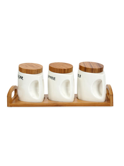 4 Pieces Jar Set with Tray (Brown)