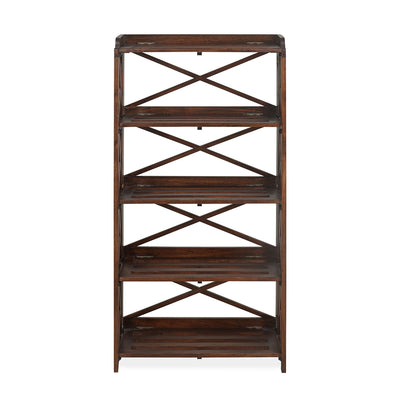 Lamar Four Tier Solid Wood Book Shelf (Walnut)