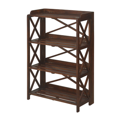Lamar Three Tier Solid Wood Book Shelf (Walnut)