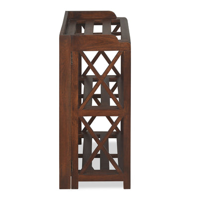 Lamar Two Tier Solid Wood Book Shelf (Walnut)