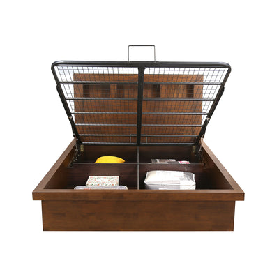 Lincoln King Bed with Hydraulic Storage (Walnut)