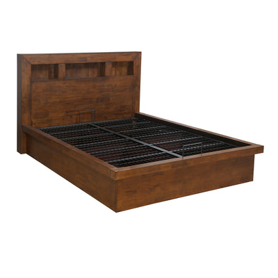 Lincoln Queen Bed with Hydraulic Storage (Brown)