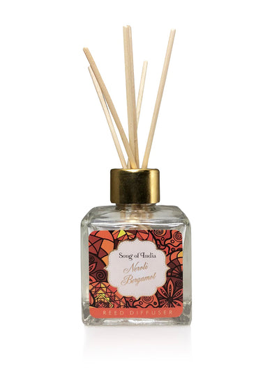 Song of India 100ml Neroli Bergamot Reed Diffuser in Glass Jar with 6 Sticks for Home Fragrance