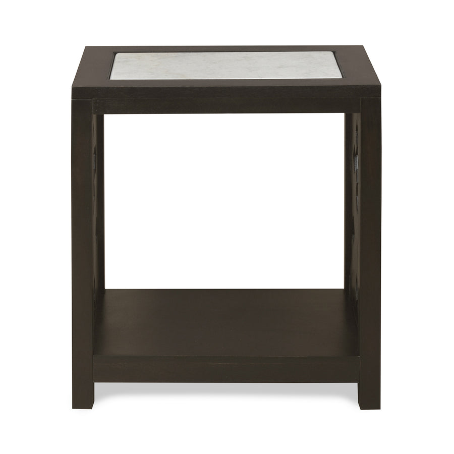Lugo Marble Top Side Table (Walnut)