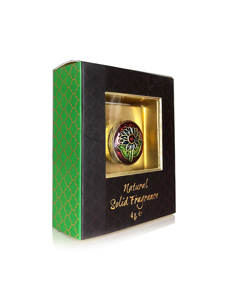 Song of India 4 g Ayurveda Solid Perfume in Brass Cloisonn / Meenakari Jar for Body Fragrance