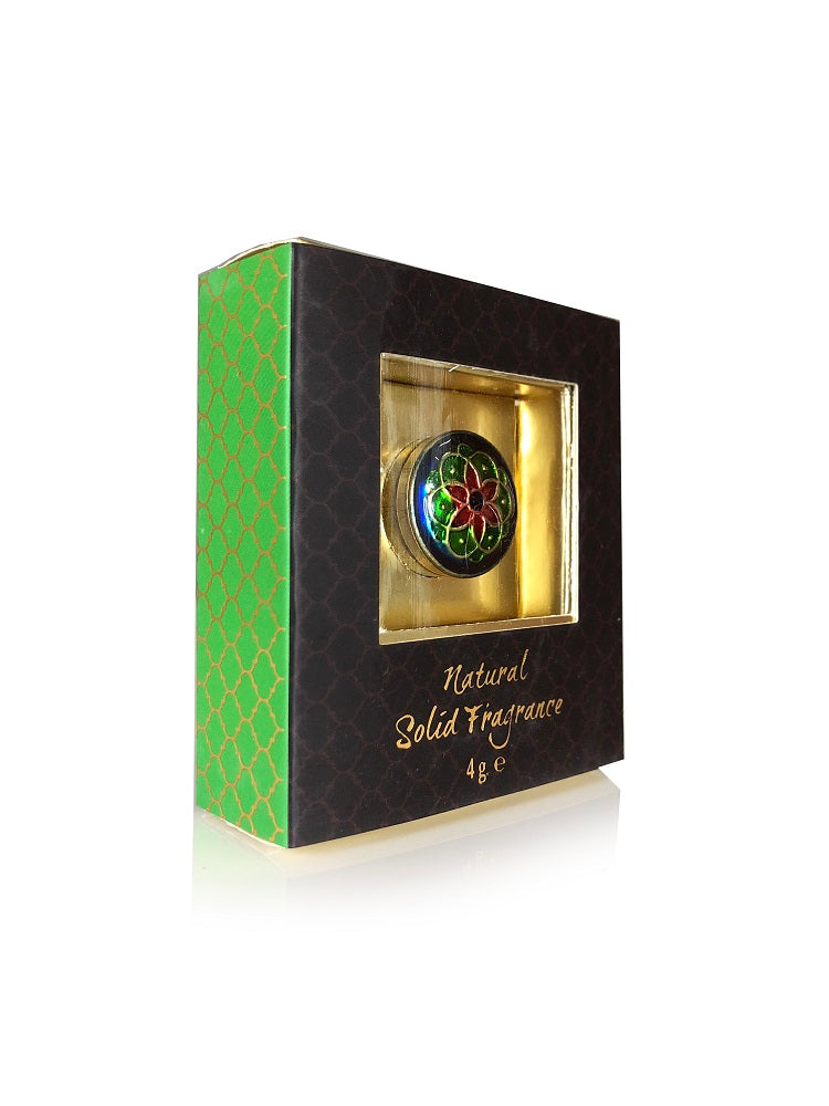 Song of India 4 g Jasmine Orient Solid Perfume in Brass Cloisonn /Meenakari Jar for Body Fragrance