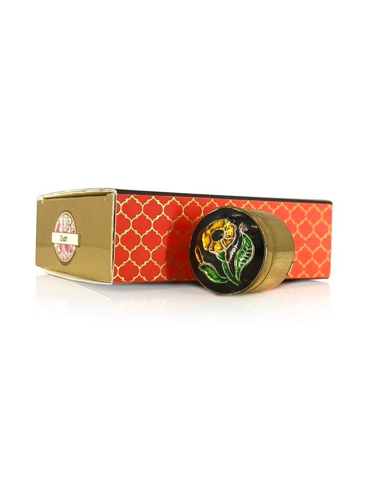 Song of India 4 g Royal Oud Solid Perfume in Brass Cloisonn /Meenakari Jar for Body Fragrance