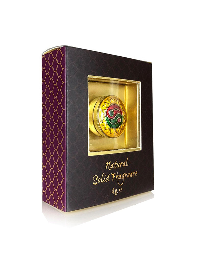 Song of India 4 g Relax Solid Perfume in Brass Cloisonn /Meenakari Jar for Body Fragrance
