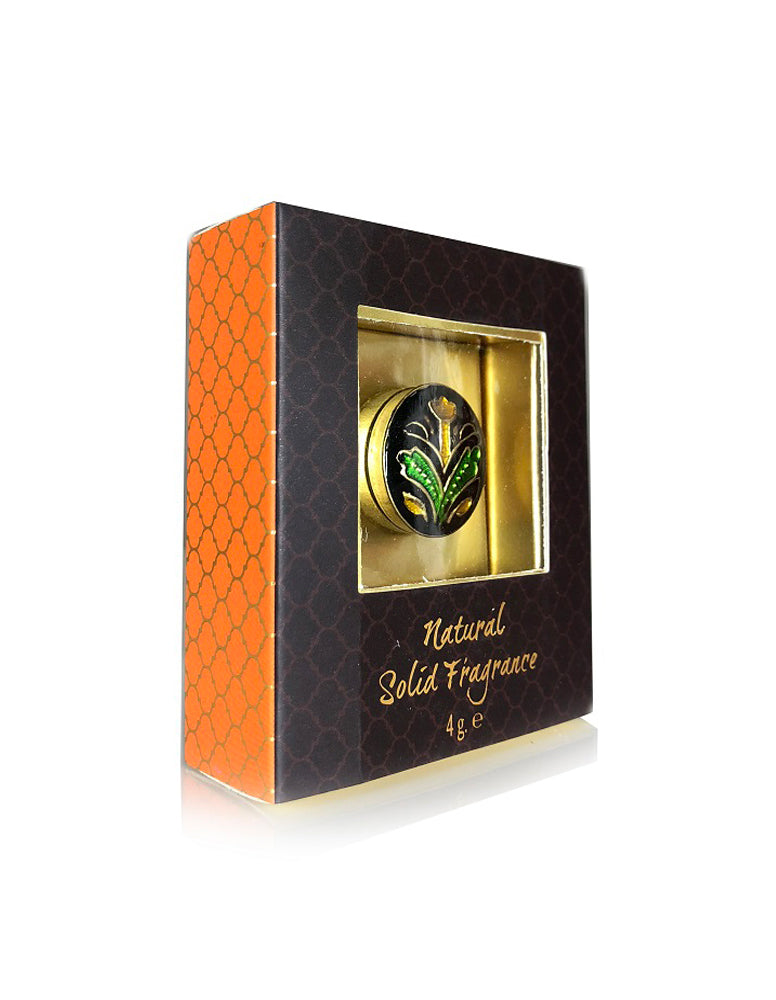 Song of India 4 g  Sandalwood & Vetiver Solid Perfume in Brass Cloisonn  / Meenakari Jar for Body Fragrance