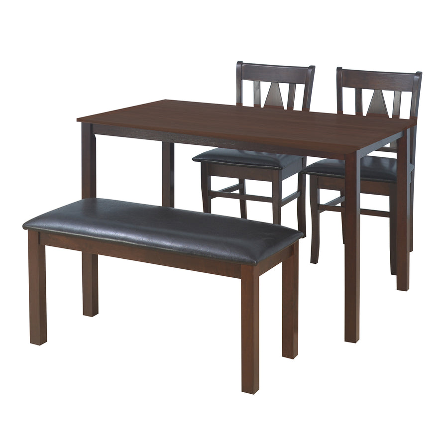 Malmox 1+2+Bench Dining Set (Brown)