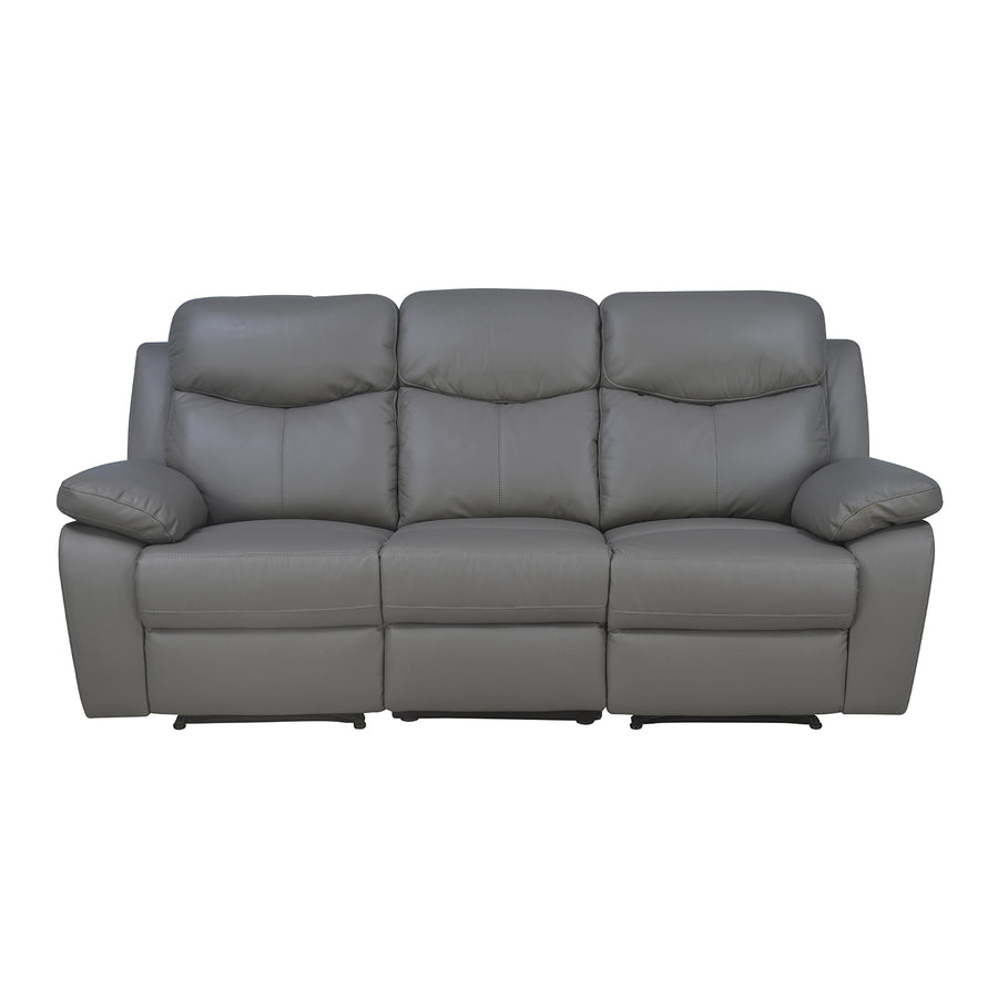Mandy 3 Seater Manual Recliner  (Grey)