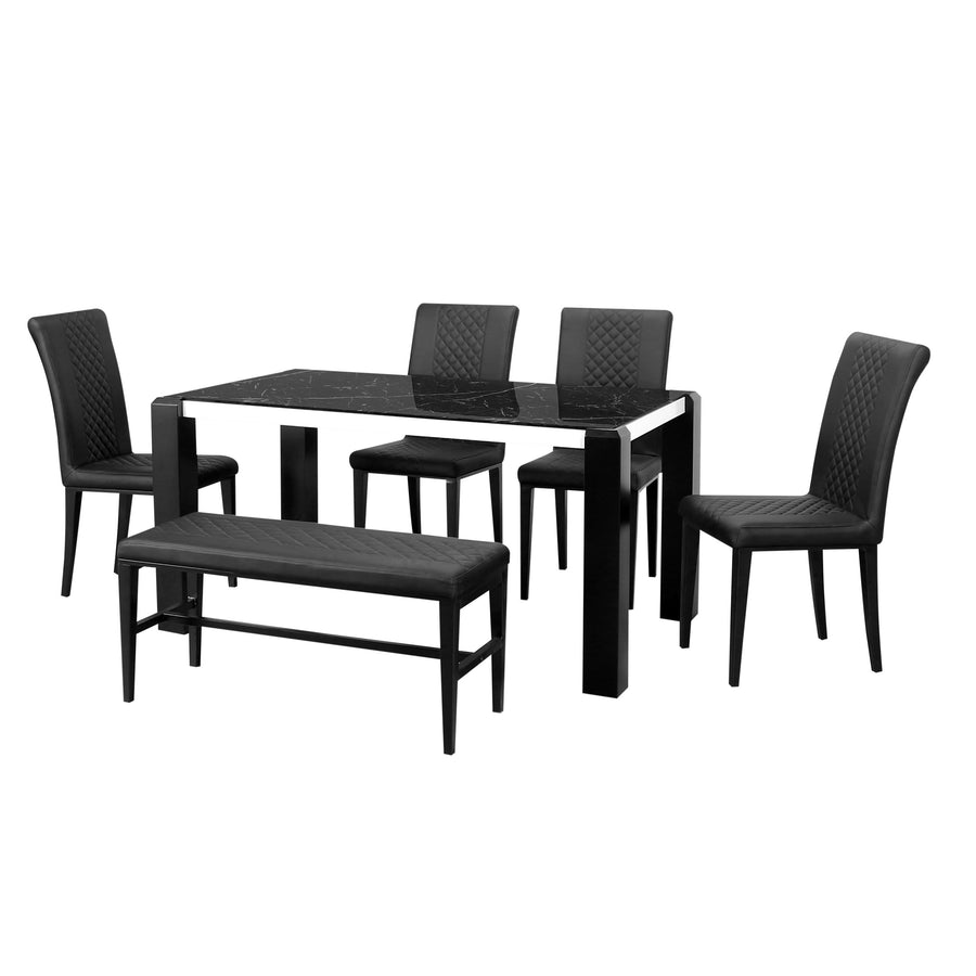 Mickle 1+4+Bench Dining Set (Black)