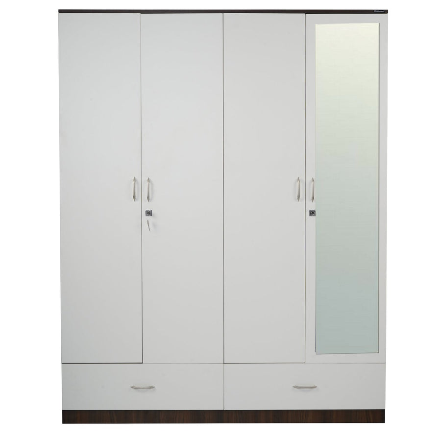 Mozart 4 Door Mirror Wardrobe (Walnut/White)