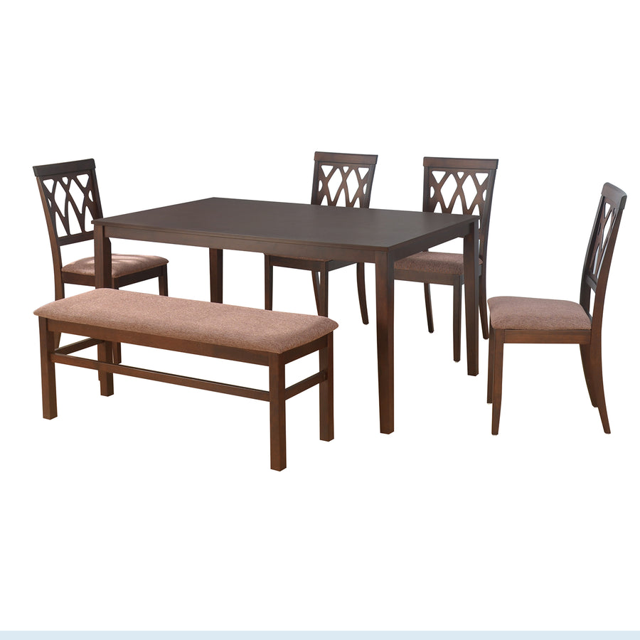 Peak 1 + 4 + Bench Dining Set (Cappucino)