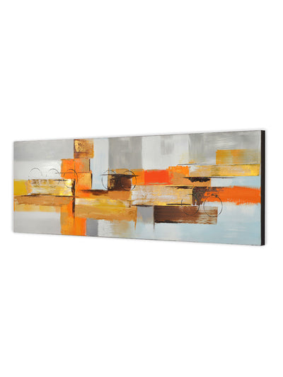 Embossed Abstract Geometric Painting (Mustard)