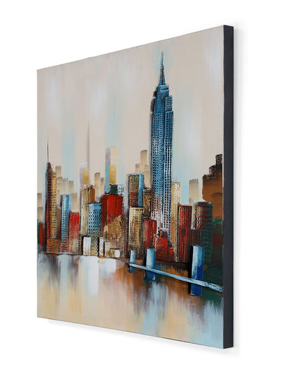 Embossed Citylife Painting (Orange)