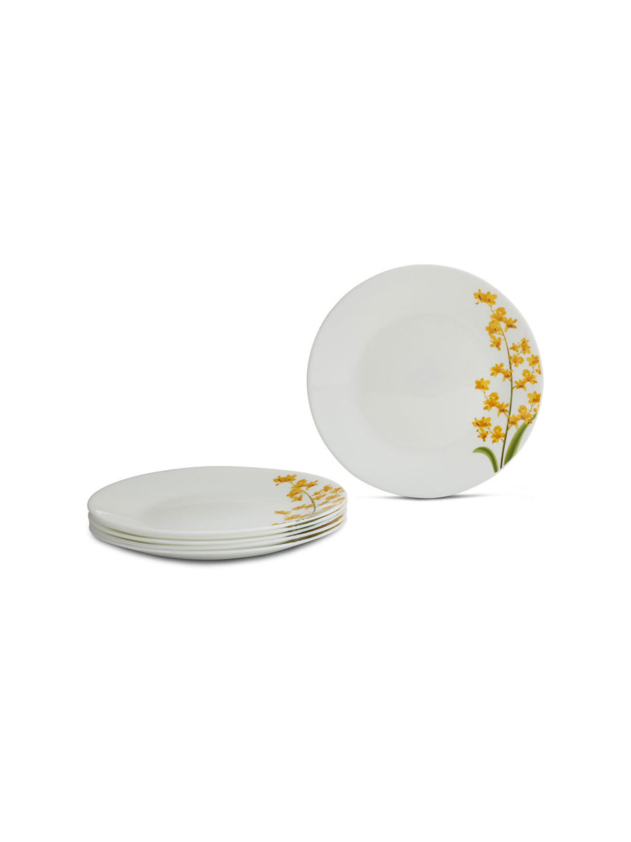 Laopala Yellow Grace Opalware Quarter Plate Set of 3 (Ivory)