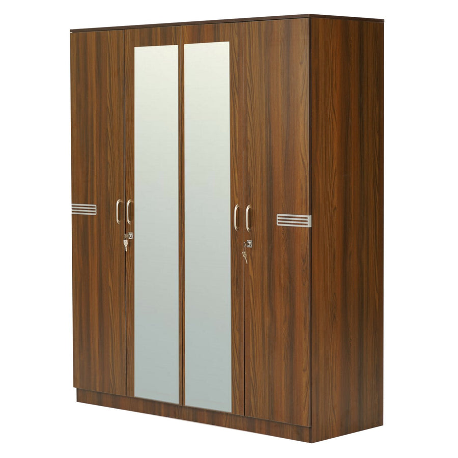 Riva 4 Door Mirror Wardrobe (Walnut)