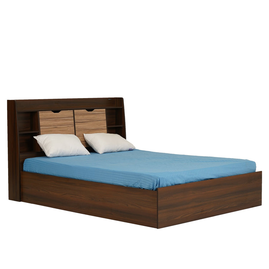 Riva King Bed with Box Storage (Walnut)
