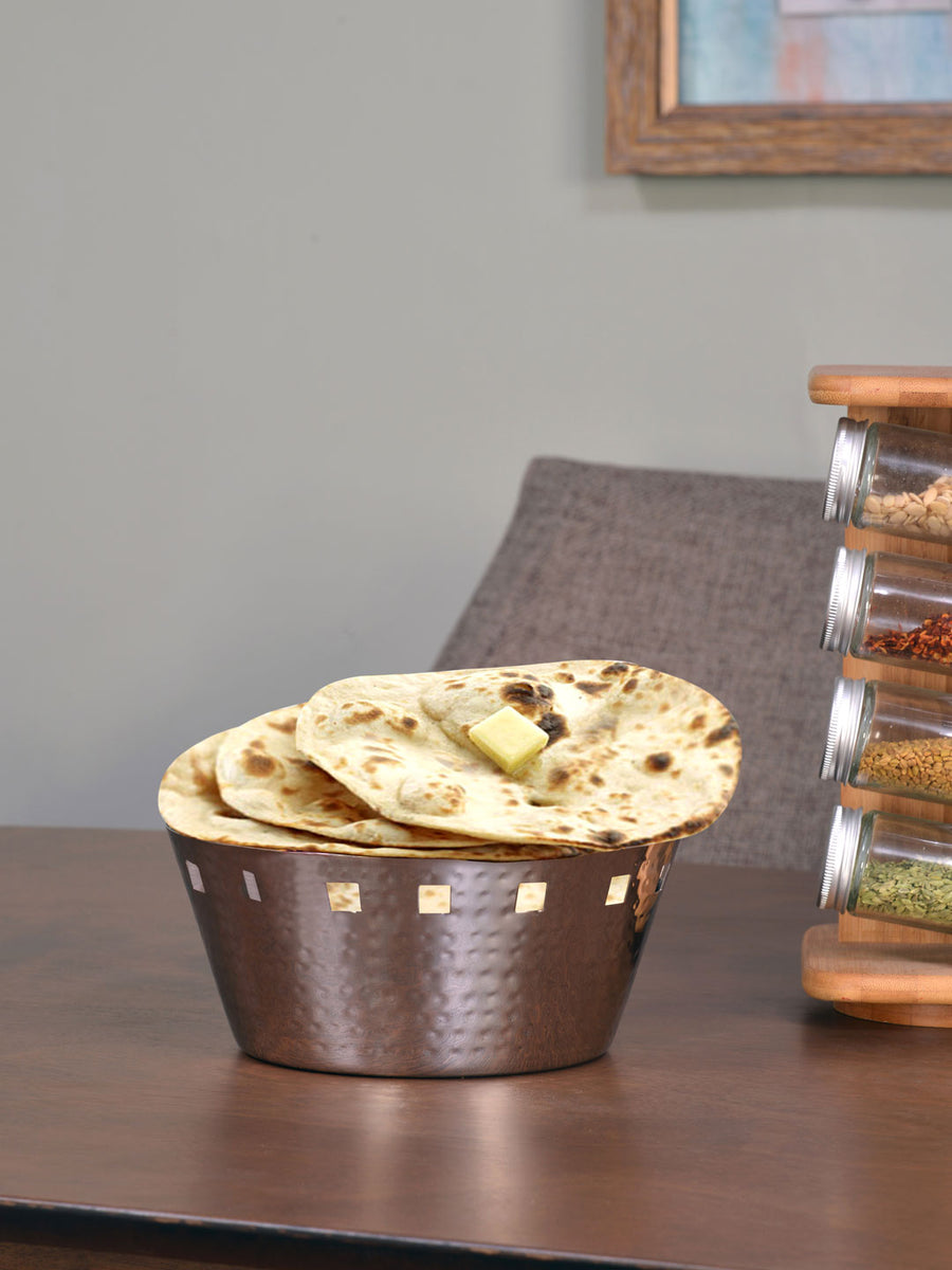 Roti Basket Round Small Stainless Steel Hammered 22Cm (Silver)