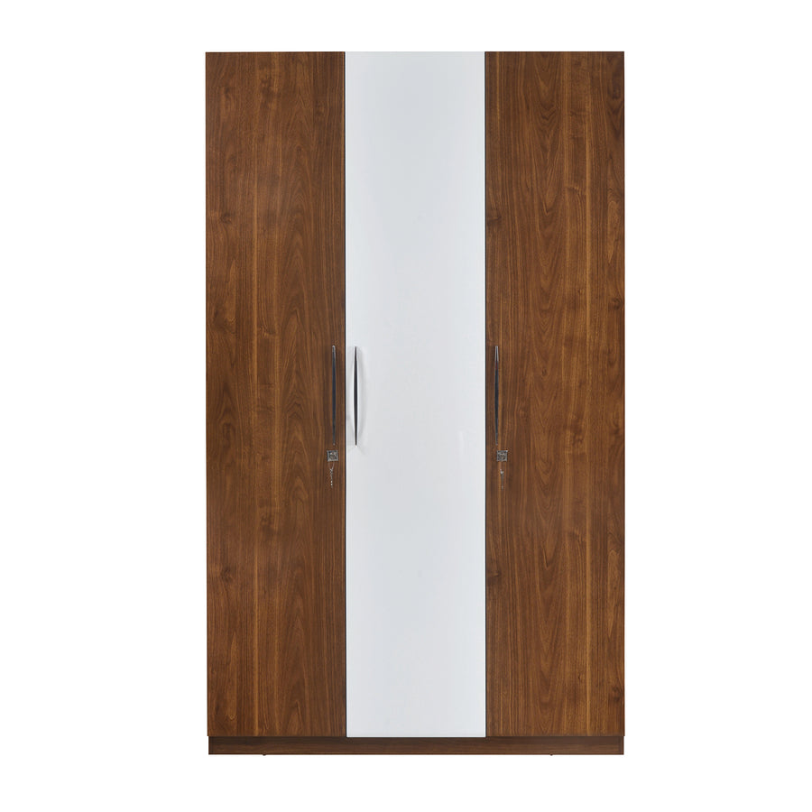 Rubix 3DR Wardrobe (White & Walnut)