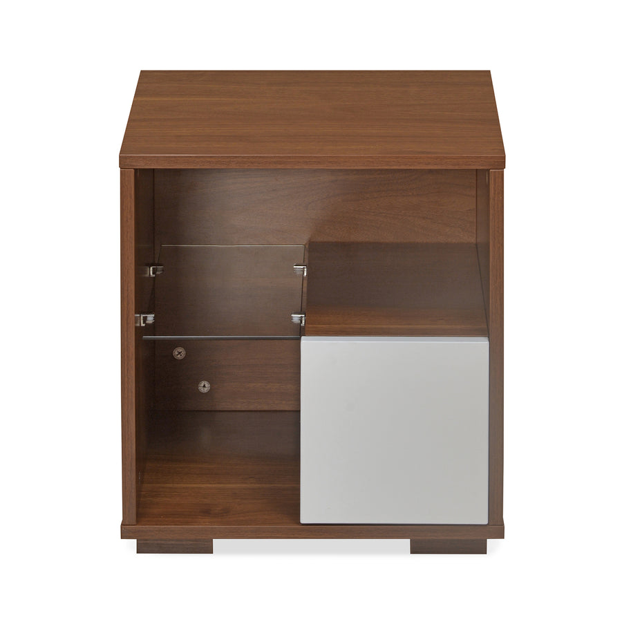 Rubix Night Stand (White & Walnut)