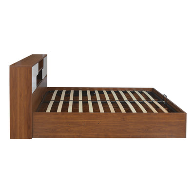 Rubix Queen Bed with Storage (White & Walnut)