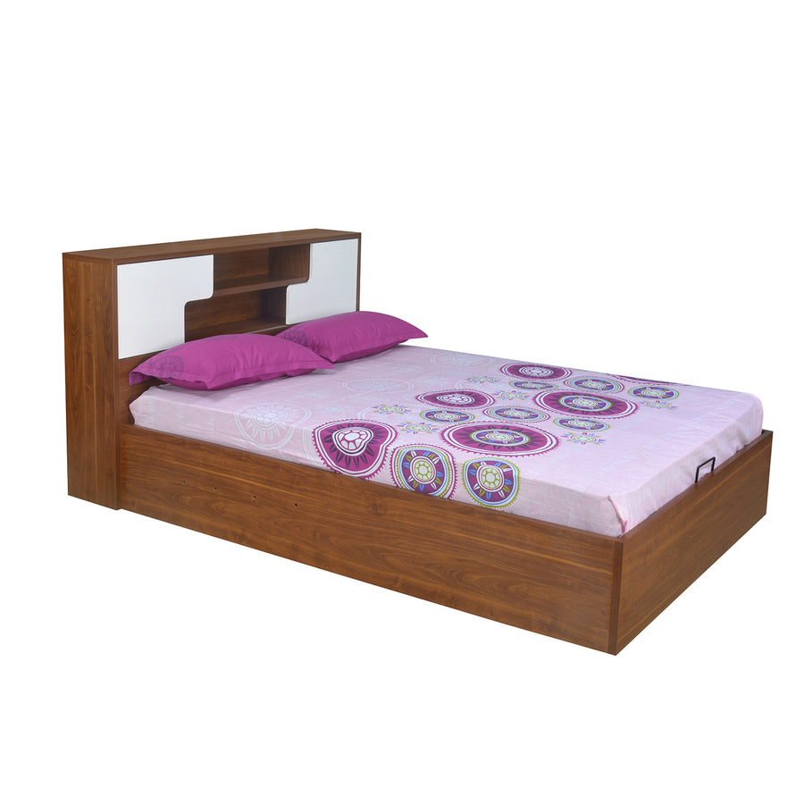 Rubix Queen Bed without Storage (White & Walnut)