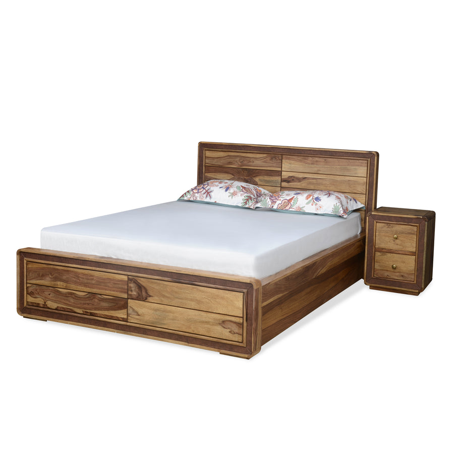 Rhody King Bedroom Set With Night Stand (Brown)