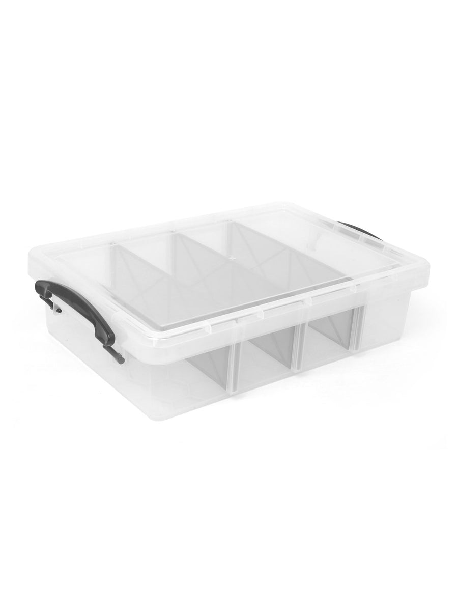 Plastic Storage Tray with 4 Dividers (Clear)