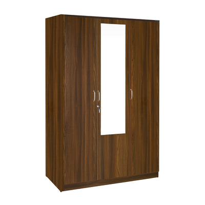 Teana 3 Door Wardrobe with Mirror (Classic Walnut)